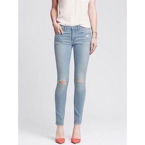 Banana Republic Light Wash Distressed Skinny Jeans